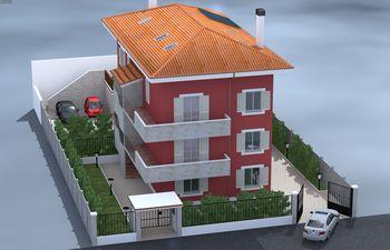Disegno di una casa rossa con tetto arancione -vista da alto
