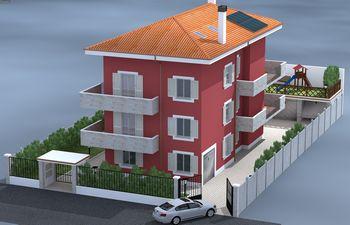 Disegno di una casa rossa con tetto arancione e giardino