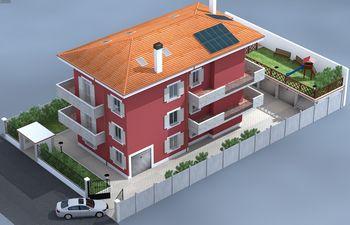 Disegno di una casa rossa con tetto arancione-visla angoloare