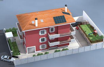 Disegno di una casa rossa con tetto arancione e balconi