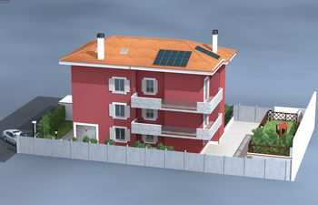 Disegno di una casa rossa con tetto arancione-vista frontale