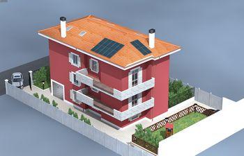 Disegno di una casa rossa con tetto arancione -vista angolare