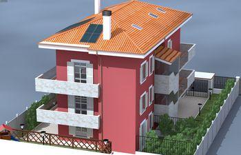 Disegno di una casa rossa con tetto arancione
