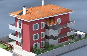 Disegno di una casa rossa con vista dei  balconi e tetto arancione