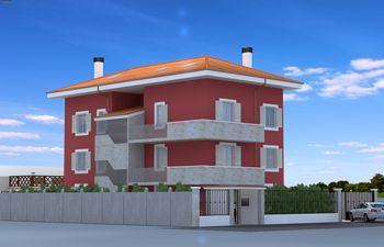 Disegno di una casa rossa con due balconi
