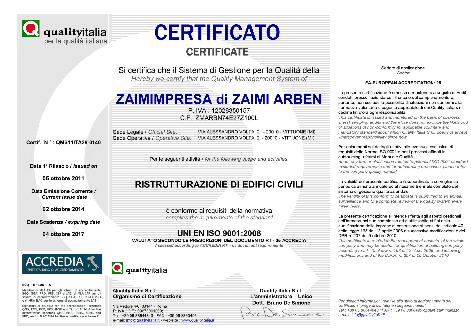 Certificato Zaimimpresa di Zaimi Arben