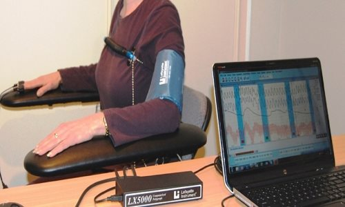Lady during polygraph test