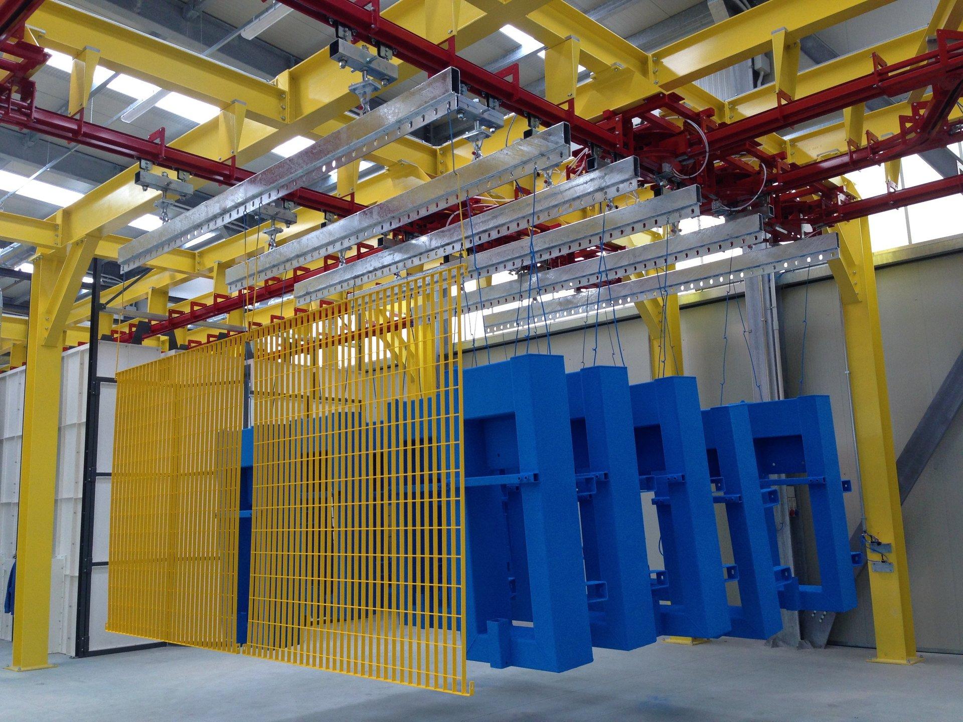 Impianto semi automatico misto di verniciatura polvere liquido