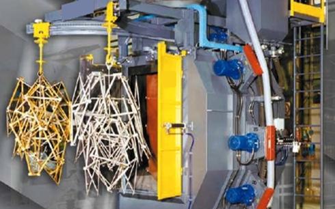 Sabbiatrice a turbina di tipo a gancio verticale o grappolo