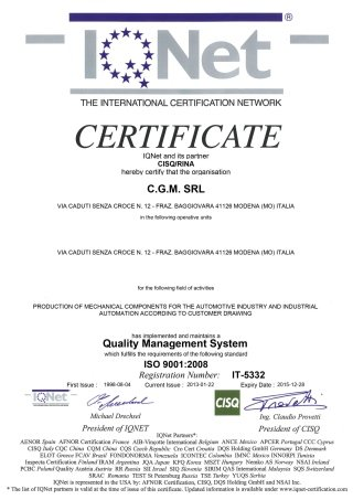 9001-2008 IQNET 2013 Certificate