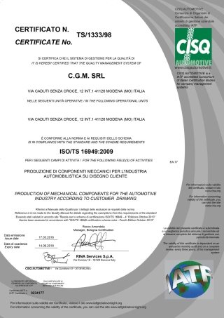 ISOTS Certificate