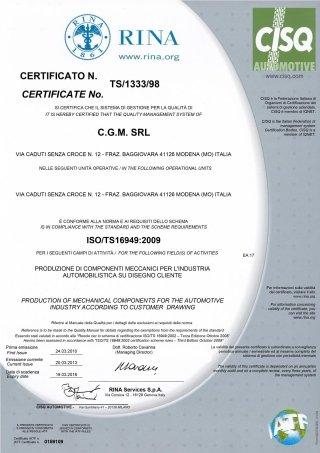 RINA 2013 CERTIFICATION