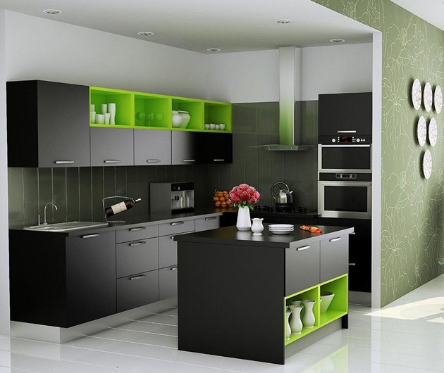 Modular Kenya Project Simple L Shaped Small Kitchen: Modular Kitchens Chennai