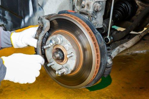 Car brake repairing in garage