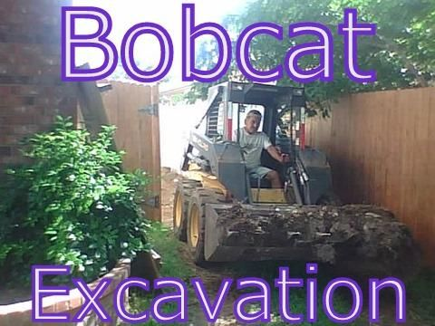 Bobcat skid steer excavation, grading, leveling, tear outs, topsoil spreading