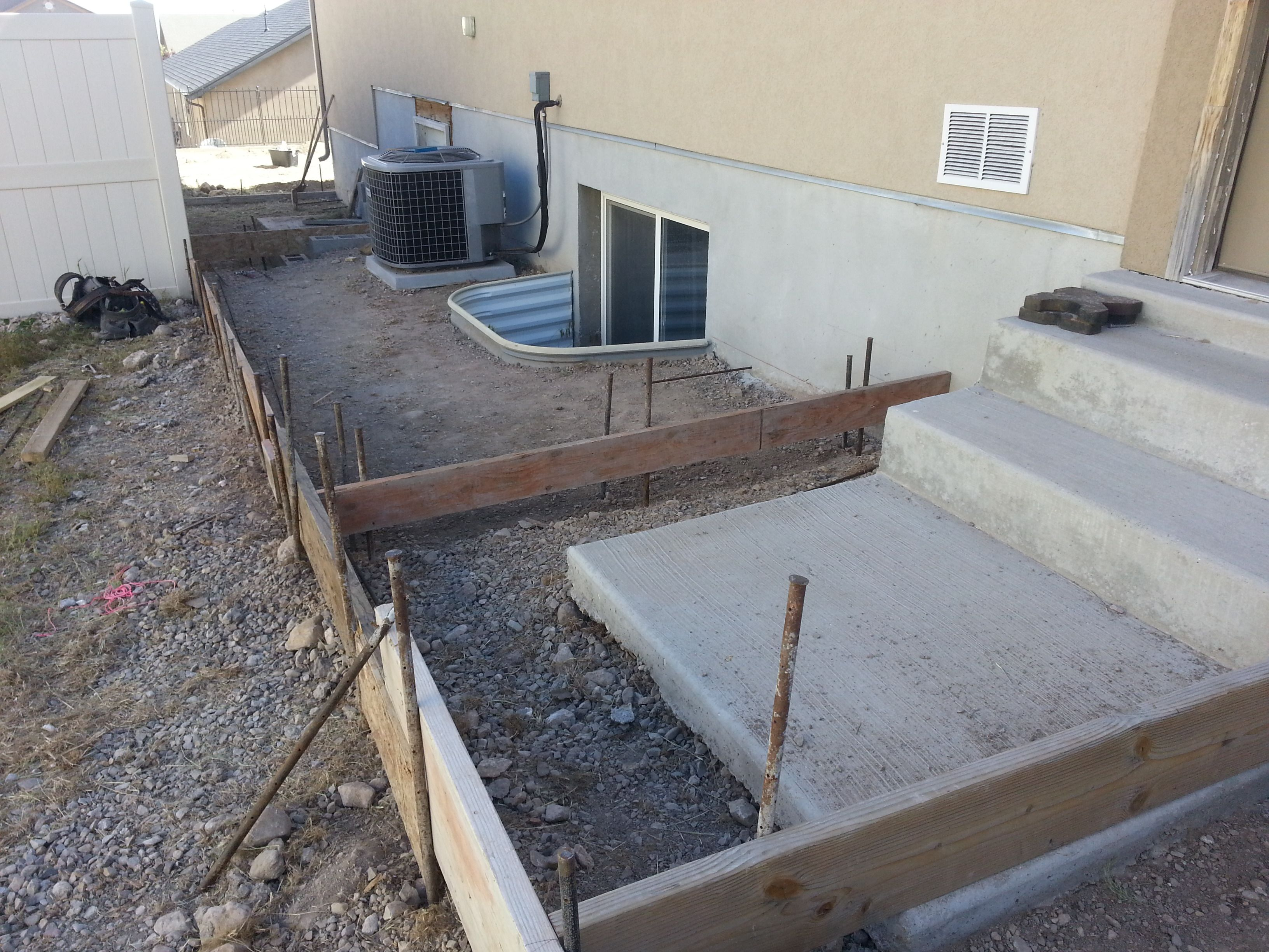 We also offer concrete work - expert forming and concrete finishing (broom finish or stamped and colored)