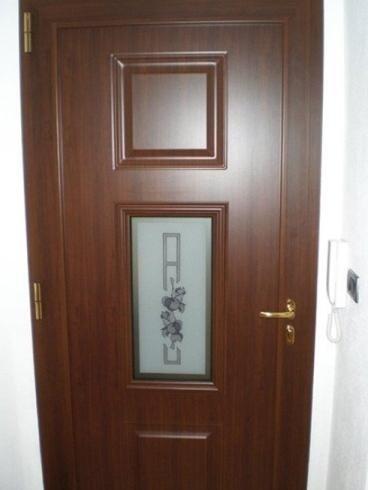Porta interna vetrata a battente in vetro decorato