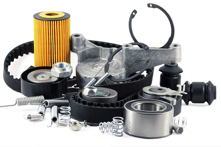 collection of car parts for performance vehicle