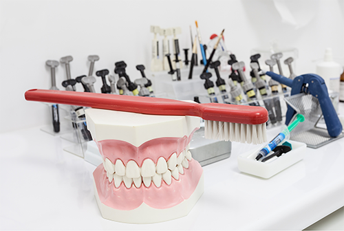 Dental tools and a denture mold