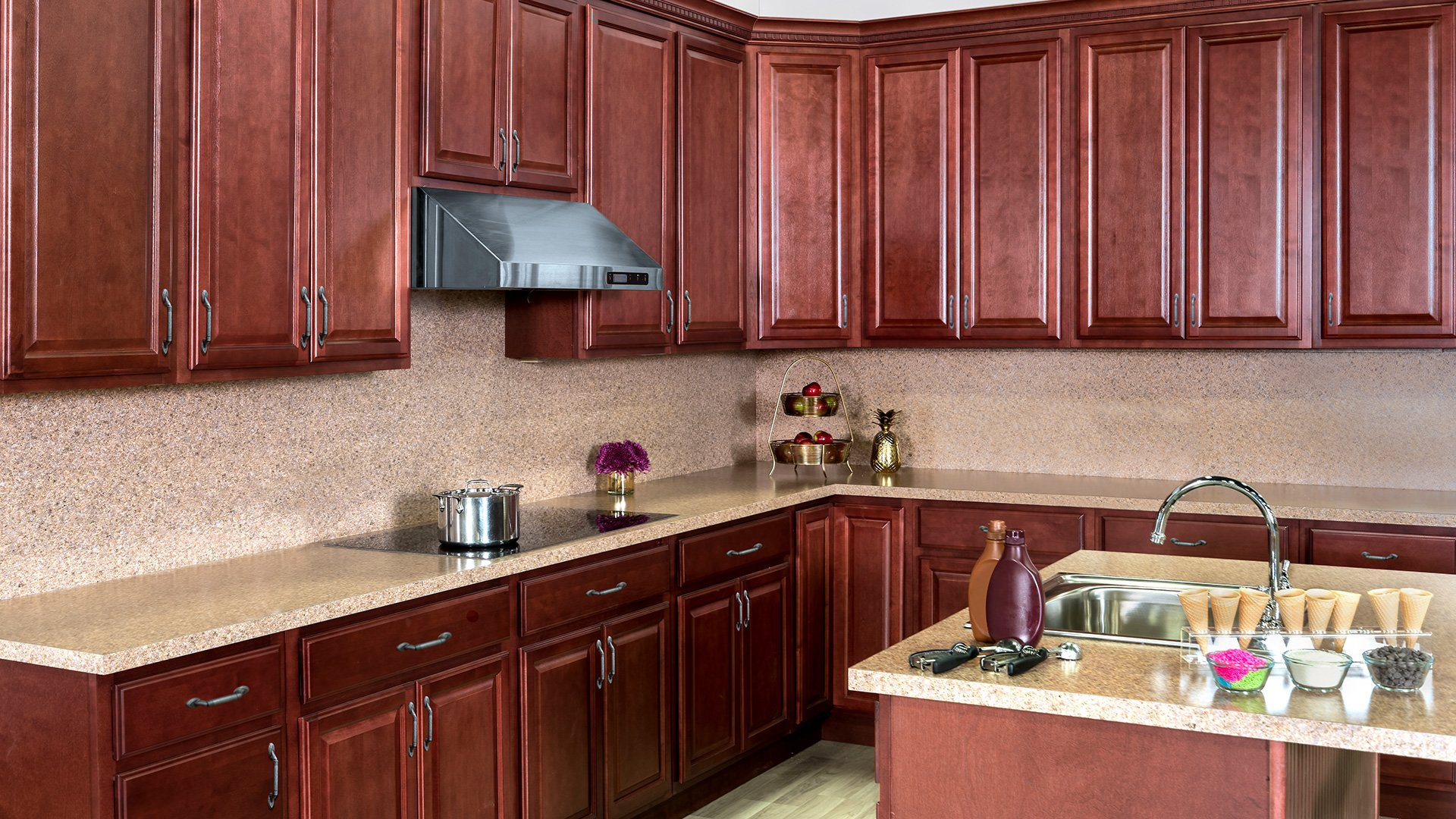 Cherry Stained Wood Cabinets Stock Amp Custom Kitchen