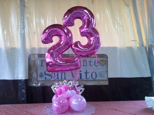 palloncini rosa a forma di numero