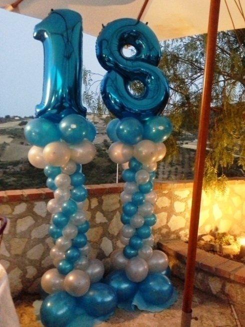 decorazione palloncini azzurri e bianchi