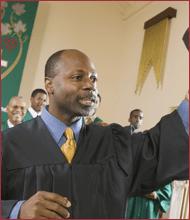 Preacher with Worship Team - Baptist Church
