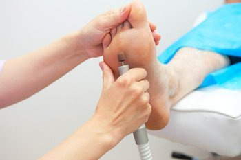 Treatment in progress on the sole of a foot