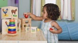 Bimba gioca con giocattoli istruttivi