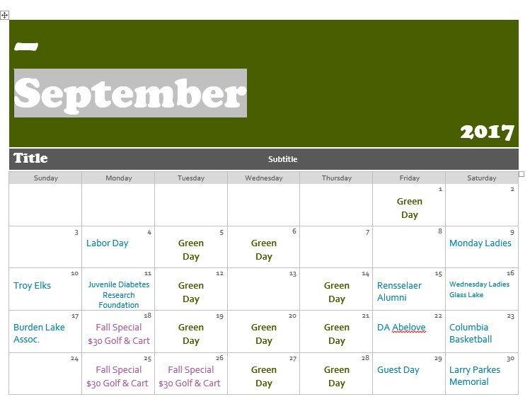 September 2016 Green Days Calendar
