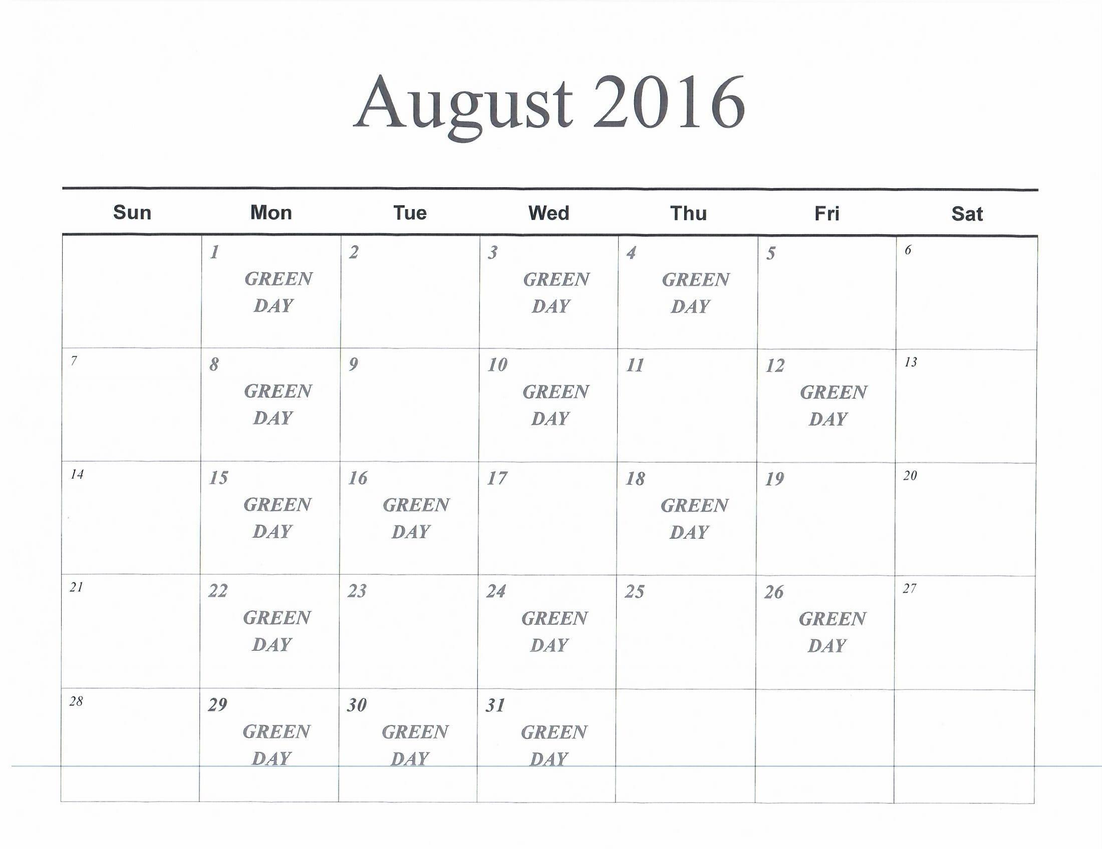 August 2016 Green Days Calendar