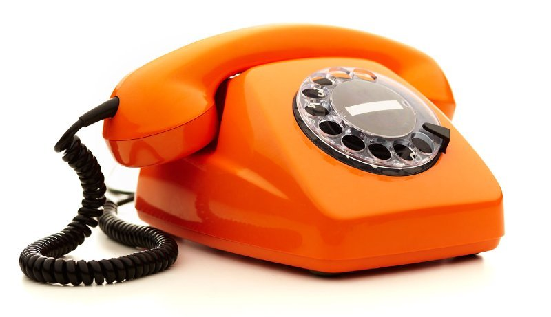 Orange colored telephone