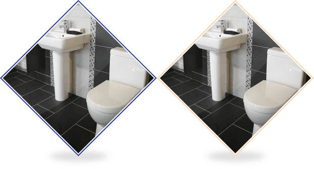 Tiled bathroom floor with sink and toilet