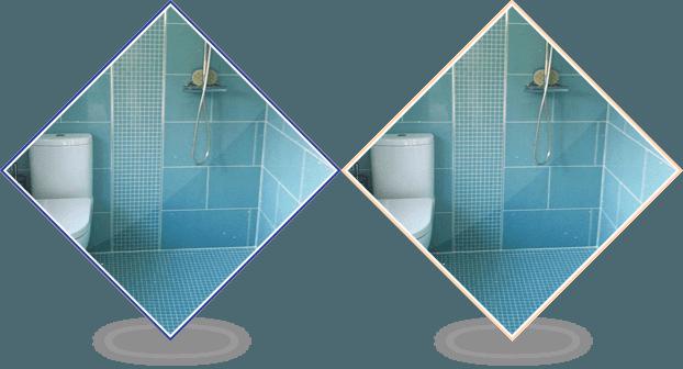 Aqua blue wall and floor tiles in a wetroom