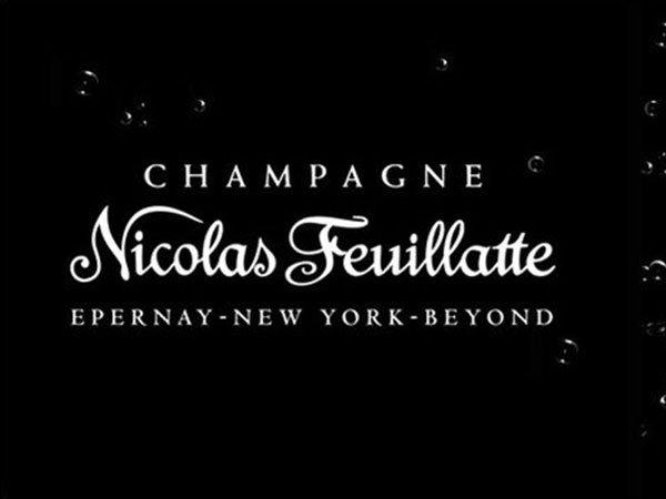 etichetta nera con scritta bianca champagne Nicolas Feuillatte