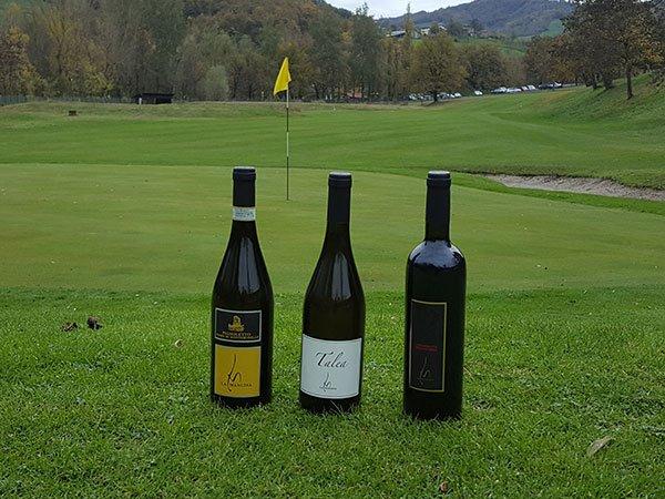 tre bottiglie di vino appoggiate su un campo da golf e dietro vista della buca e della bandierina