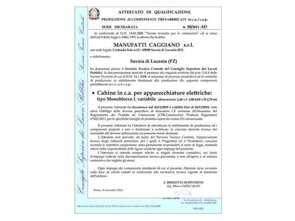 Qualificazione cabine variabili