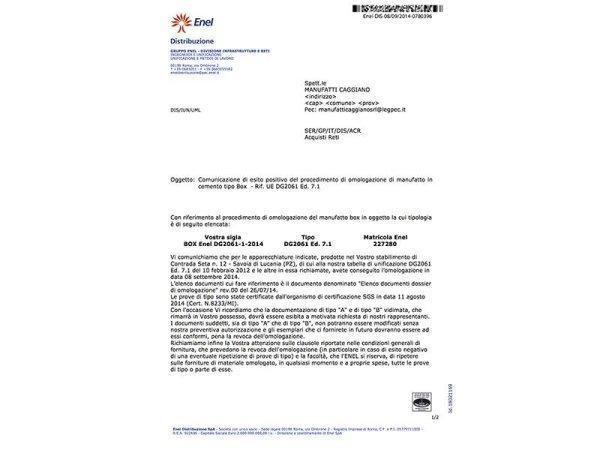 Omologazione Box DG 2061