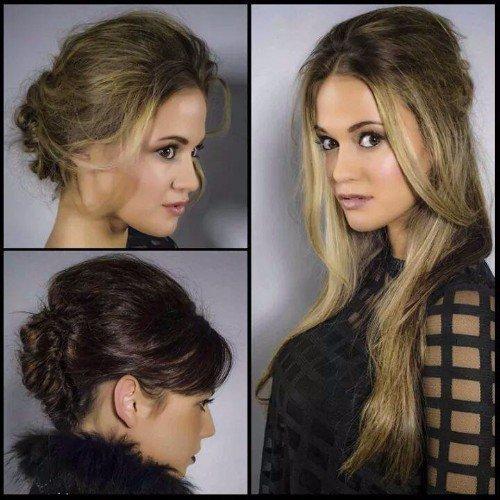 Una giovane, un cambiamento di colore di pelo di castagna a bionda e una immagine nuova