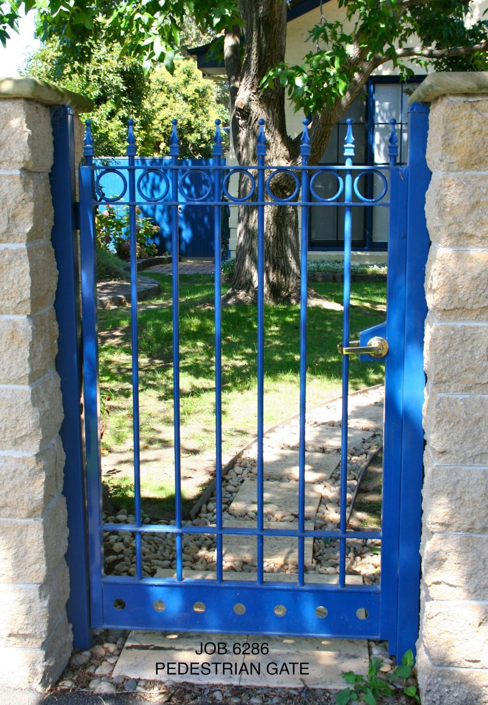 blue pedestrian gate