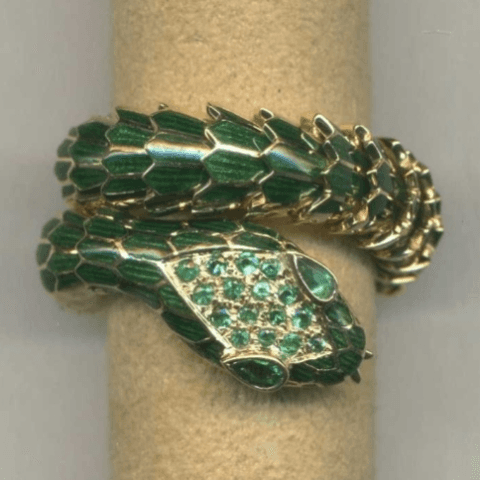 gold and enamel snakes