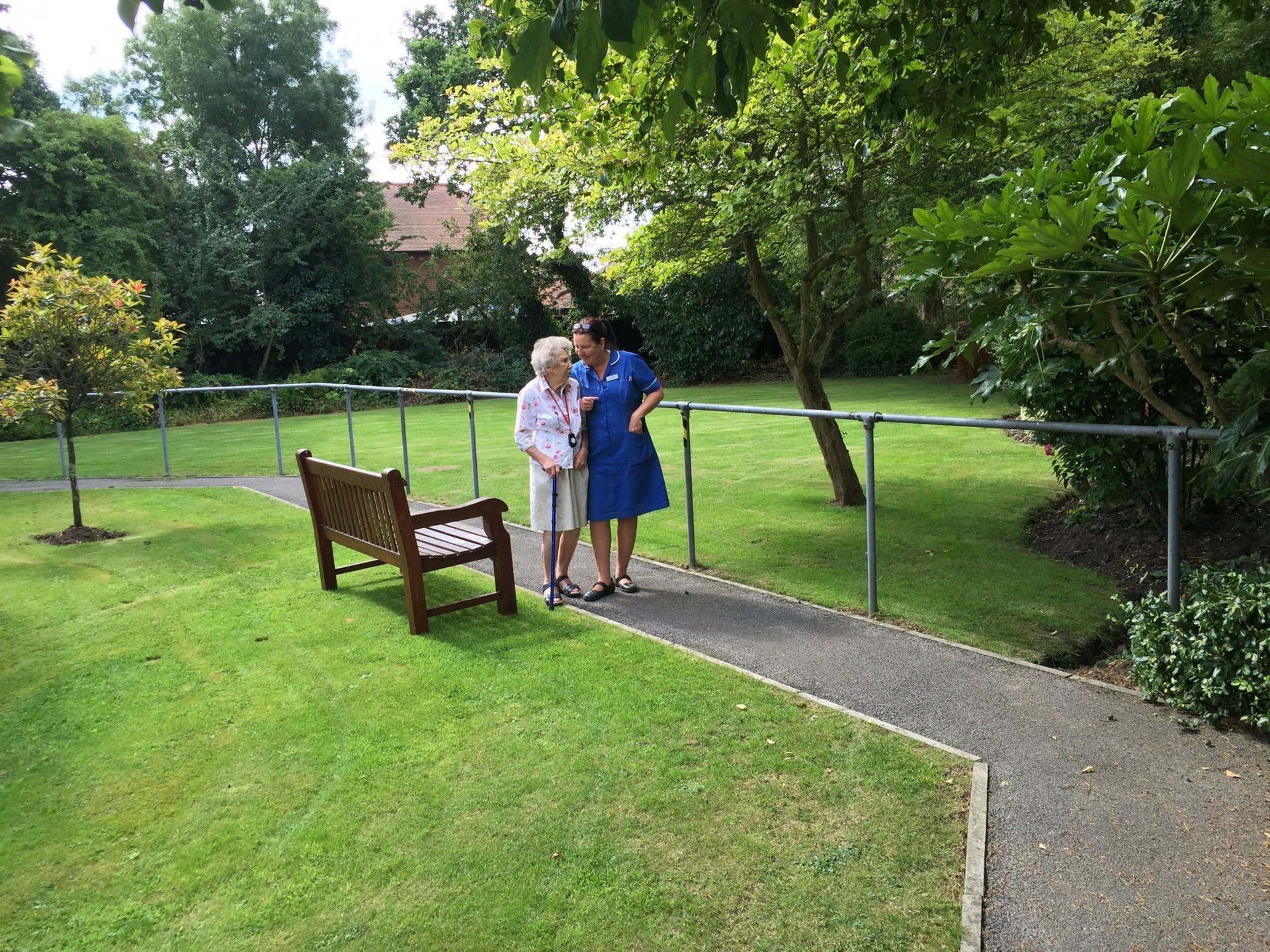 Avon Park Care Home - resident and nurse on a walk