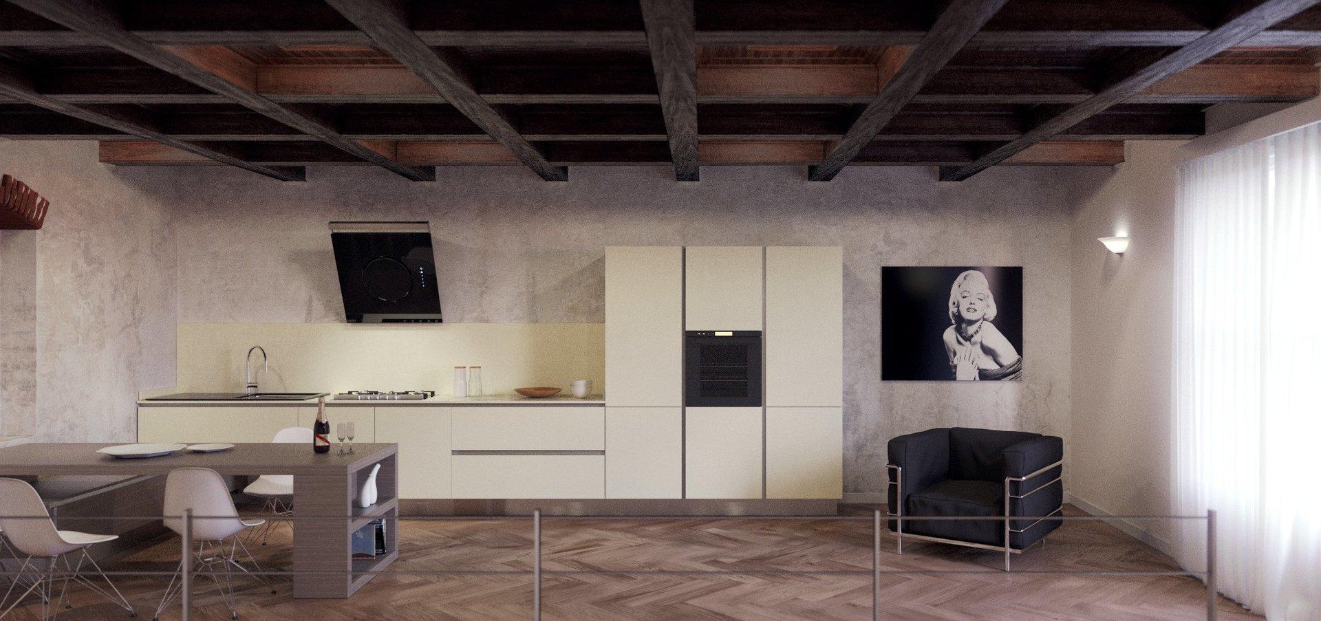 cucina reval di pepe cucina moderna arredata interno con scala e vasi