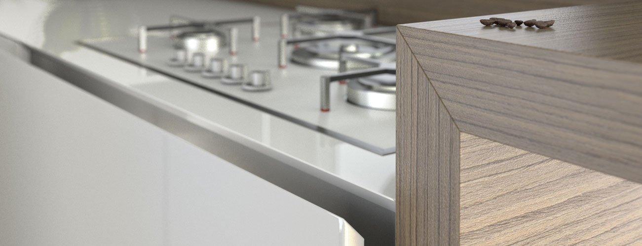 cucina reval di pepe cucina moderna arredata, dettaglio spigolo il legno