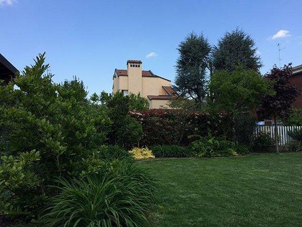 Un prato grande, attorno degli alberi e una villa grande a distanza