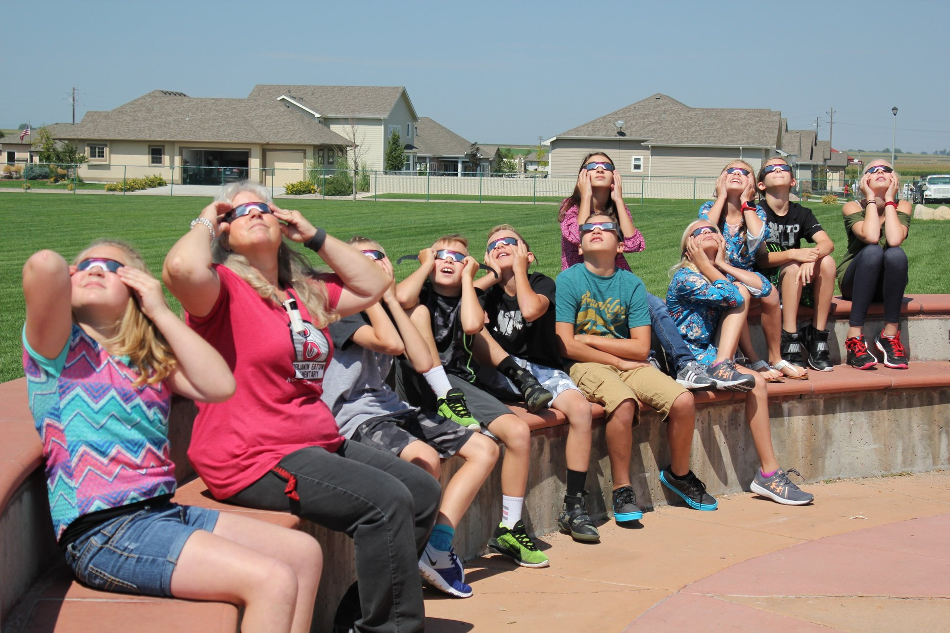 Students at BEES observe solar eclipse