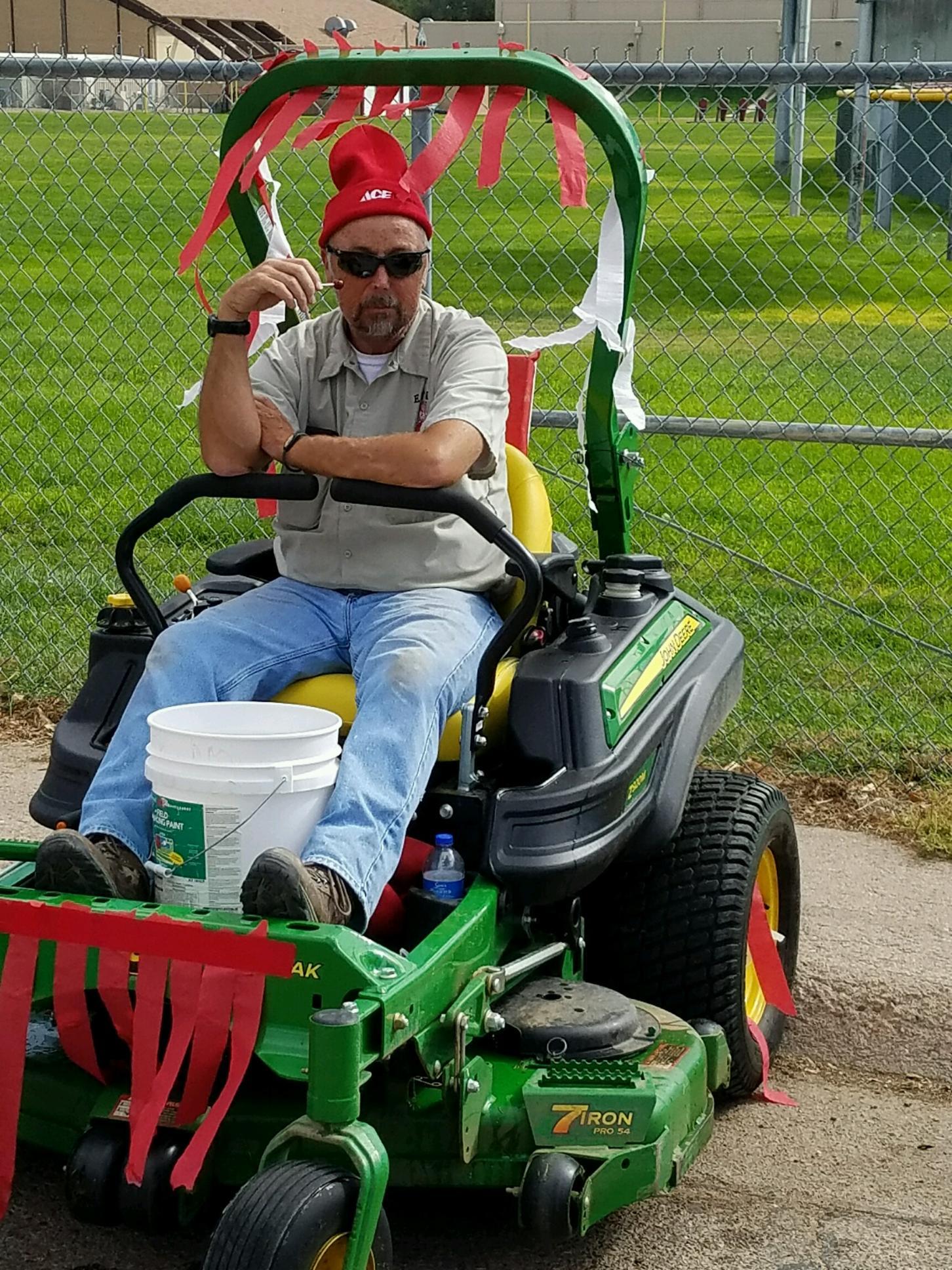 Tim on mower