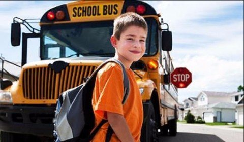 Student and school bus