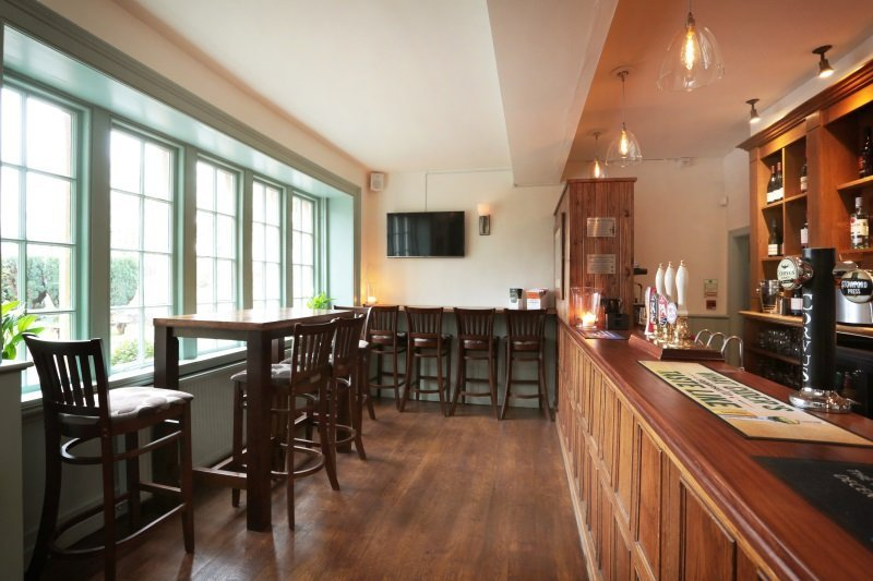 The bar area with fine wines at the George Inn, Sandy Lane, Chippenham.