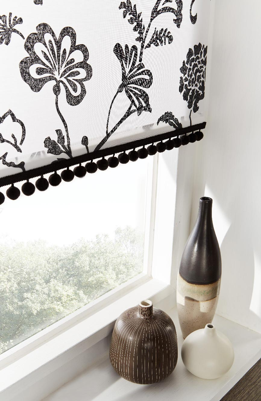 TAMARA MONOCHROME BLACK POM POMS BLINDS